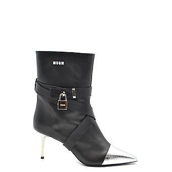 Msgm Ezbc016062 Women's Black Leather Ankel Støvler