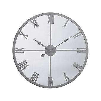 Libra Furniture Industrial Style Mirrored Wall Clock With Grey Frame