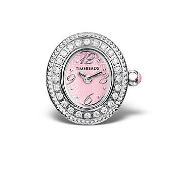 Timebeads Pink & CZ Oval Watch Charm With Clip Fastening TB1006CZPK