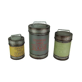 Set of 3 Galvanized Finish Metal Kitchen Canisters