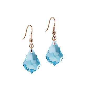 Éternelle Collection Tresor Aquamarine Baroque cristal Rose Gold Tone Drop boucles d'oreilles