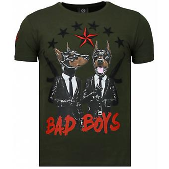 Bad Boys Pinscher-rhinestone T-shirt-grön