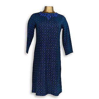C. Wonder Dress XXS Jacquard Knit 3/4 Sleeve with Beading Blue A281813