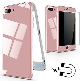 Magnetisk veske med farget bak glass for iPhone 7/8-Pink