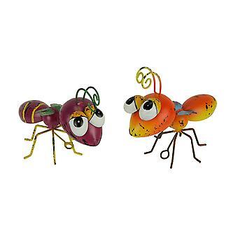 Oranje en paars metaal kunst grote hoofd Wasp sculptuur of muur opknoping set van 2