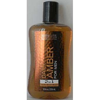 Bath & Body Works Dark Amber for Men 2 In 1 Hair and Body Wash 10 oz / 295 ml (Pack of 2)