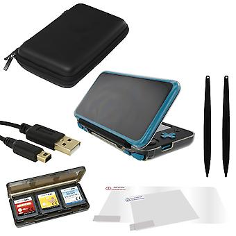 Starter accessories kit for nintendo 2ds xl including flexi gel cover, screen protectors, storage bag, charging cable, game case & xl stylus