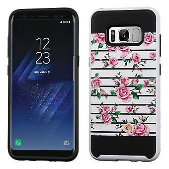 ASMYNA pink friske roser/sort børstet hybrid taske til Galaxy S8 plus