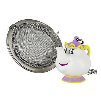Disney Die Schöne und das Biest Madame Pottine Teesieb silberfarben/weiß, bedruckt, aus 100% Kunststoff/Edelstahl.