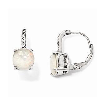 925 Sterling Sølv Leverback Rhodium belagt Cubic Zirconia Syntetisk simuleret Opal Long Drop Dangle Øreringe smykker G