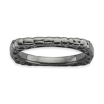 2,25 mm 925 Sterling Silber gemusterte Ruthenium Plating stapelbare Ausdrücke poliert schwarz Platte Platz Ring Schmuck Gi