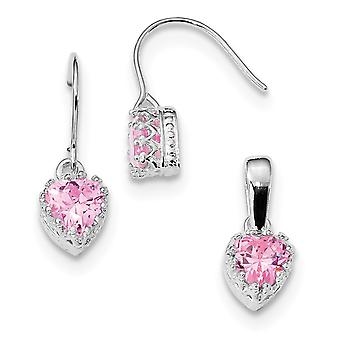 925 Sterling Silver Polished Shepherd hook Rhodium plated Pink CZ Cubic Zirconia Simulated Diamond Love Heart Earrings a