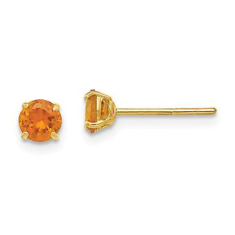 14k Yellow Gold Polished Round Citrine 4mm Post Earrings Jewelry Gifts for Women