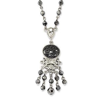 Silver tone Fancy Lobster Closure Clear Hematite and Black Acrylic Beads 16inch With Ext Necklace Jewelry Gifts for Wome