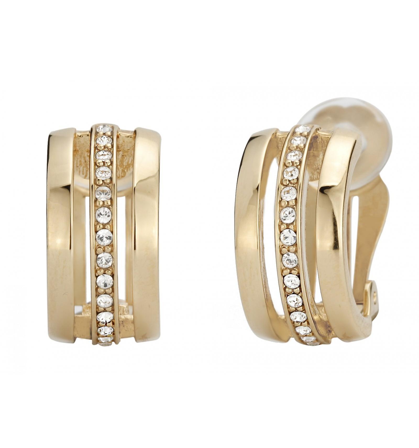 Reiziger clip Earring-22ct verguld-Swarovski kristallen-157081