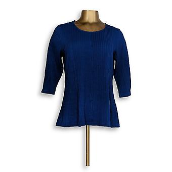 Denim & Co. Women's Petite Top Textured Knit Fit & Flare Blue A345263