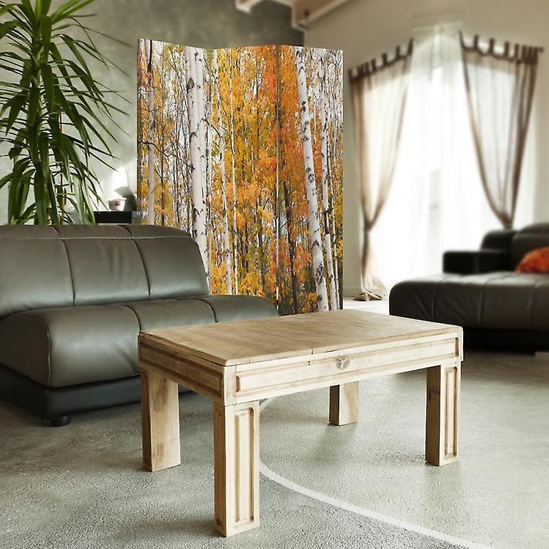 Diviseur de chambre, 3 panneaux, double-sided, 360 rotatable, toile, forêt de bouleau en automne