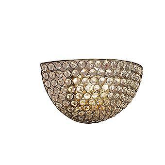Diyas Ava Wall Lamp Circular 2 Light French Gold/Crystal