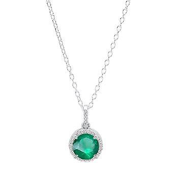 Dazzlingrock Collection 18K 6.5 MM Round Lab Created Emerald & White Diamond Halo Pendant, White Gold