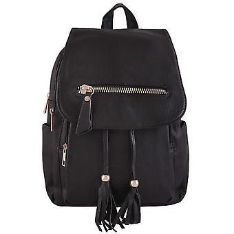 Ryggsäck med dragsko och lock, svart