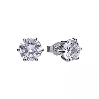 Diamonfire Silver White Zirconia Solitaire Earrings E5631