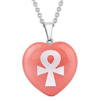 Amulet Ankh Egyptische bevoegdheden van leven energie Cherry gesimuleerd Quartz gezwollen hart hanger ketting