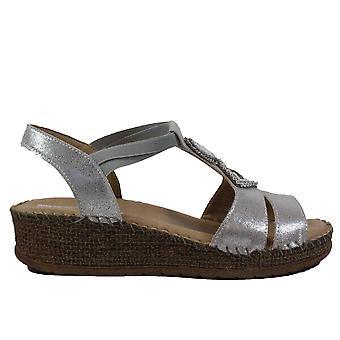 Ara Marrakesch 17732-05 Silver Metallic Womens Strappy Wedge Sandals