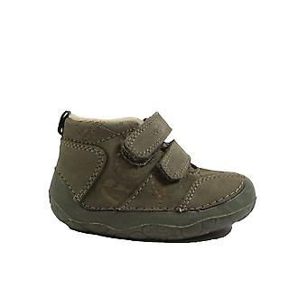 Startrite Fossil Khaki Leather Boys Rip Tape Pre Walker Boots