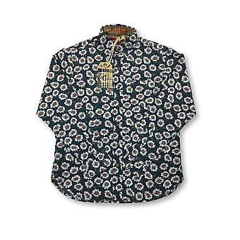 Tailor Vintage shirt in navy/white daisy pattern