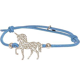 GEMSHINE licht blauwe armband verstelbaar. EINHORN zilver, verguld of Rose