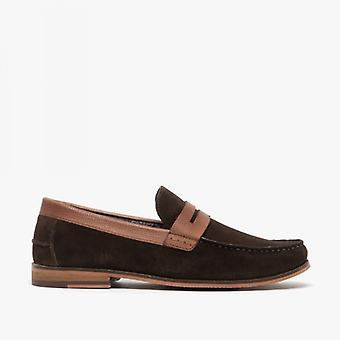 Silver Street London Ancona Mens Suede Loafers Brown