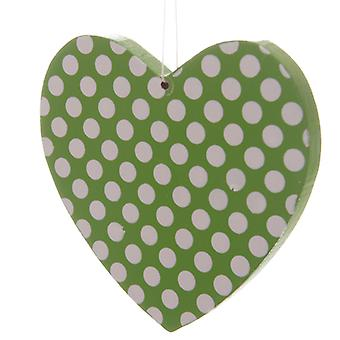 Polka Dot Wooden Heart - Lime Green