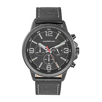 Morphic M86 Series Chronograph Leather-Band Watch - Noir