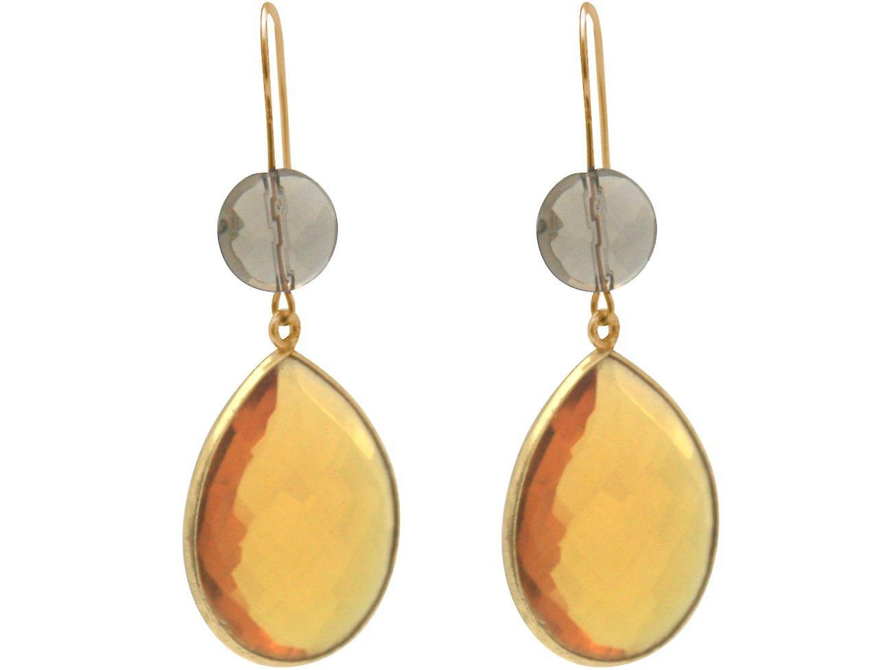 Gemshine Ohrringe Rauchquarz und Citrin Edelstein Tropfen 925 Silber vergoldet