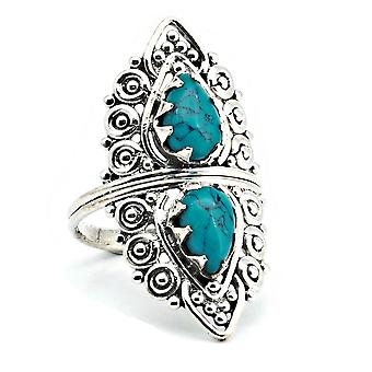 Turquoise Ring 925 Silver Sterling Silver Silver Women's Ring Blue Green (IRM 172-15)