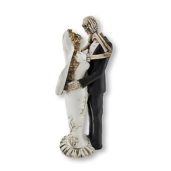Bruid en bruidegom skeletten bruiloft standbeeld taart Topper