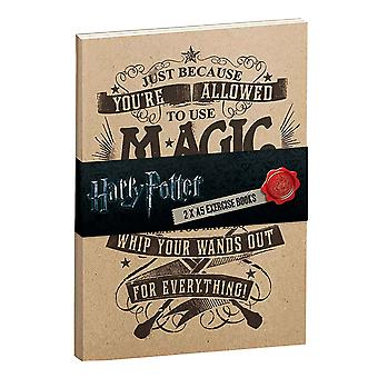 Harry Potter Exercise Notebooks Allowed to use Magic official 2 pack Brown A5