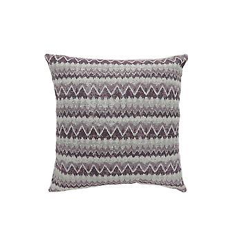 Contemporary Style Horizontally Zigzag Designed Set of 2 Throw Pillows, Purple