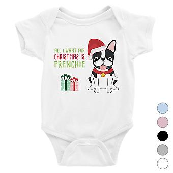 Christmas Frenchie Present Cool Baby Bodysuit Holiday Gift