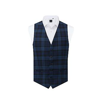 Dobell Boys Blu Tartan Waistcoat Regular Fit