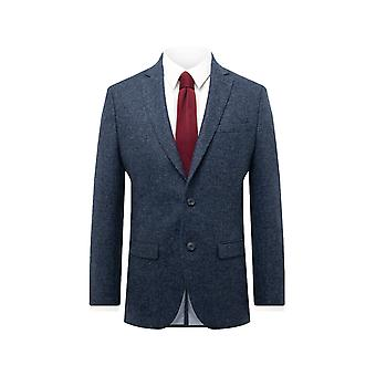Maan mens Blue twill tweed pak jas regular fit 100% wol