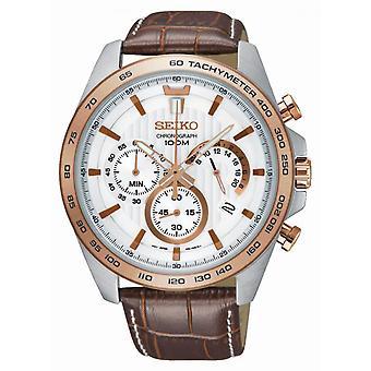 Seiko SSB306P1 watch - läder brun man sportklocka