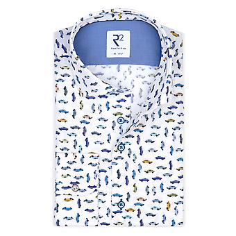 R2 Wide Collar Long Sleeved Shirt Multi Car Pattern