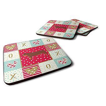 Carolines Treasures  CK5369FC Set of 4 Duroc Pig Love Foam Coasters Set of 4