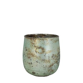 Light & Living Tealight 12x12cm - Fontes Matted Turquoise-Copper Rust