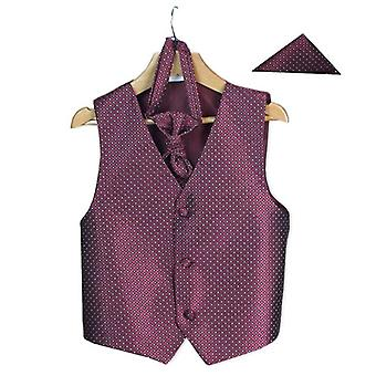 Ragazzi's Uomini's Borgogna matrimonio Waistcoat Cravat Hanky Set