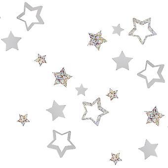 Stervormige zilveren tafel confetti kerst 13G