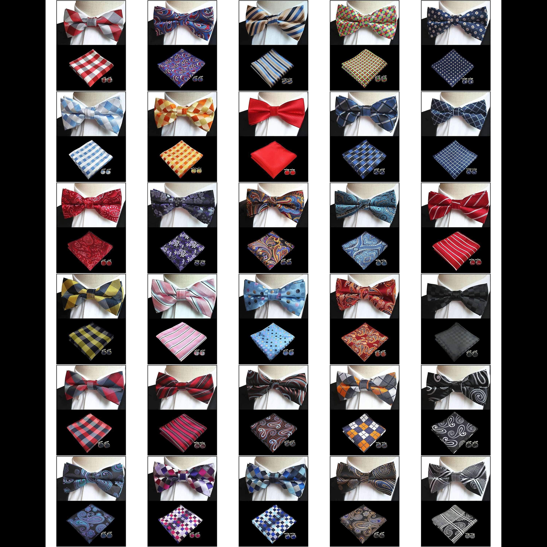 Blue brown & pink dot bow tie pocket square & cufflink