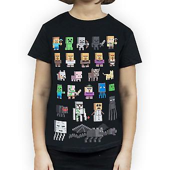Minecraft Sprites Girl's Black Short Sleeve T-Shirt Kids Gamer Tee