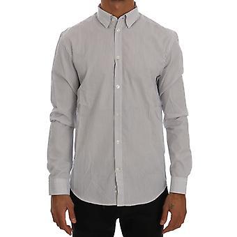 Frankie Morello White Blue Listrado Casual Cotton Regular Fit Shirt